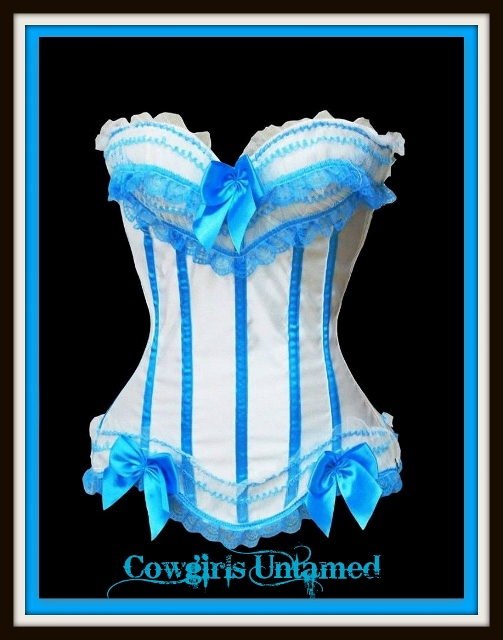 CORSET - Turquoise Lace Trim and Bow on White or Black Satin Western Corset Top