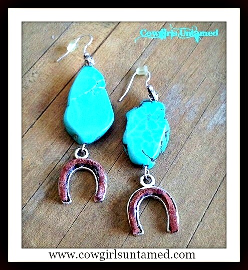 WESTERN COWGIRL EARRINGS Turquoise and Brown Leather Silver Horseshoe Earrings