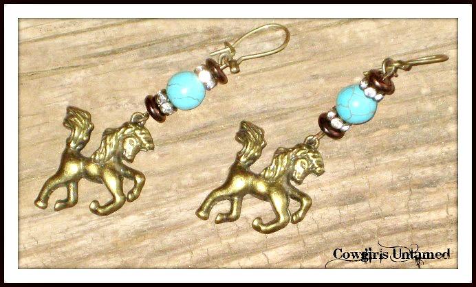 HORSE LOVIN COWGIRL EARRINGS Antique Bronze Horse Rhinestone Turquoise Earrings