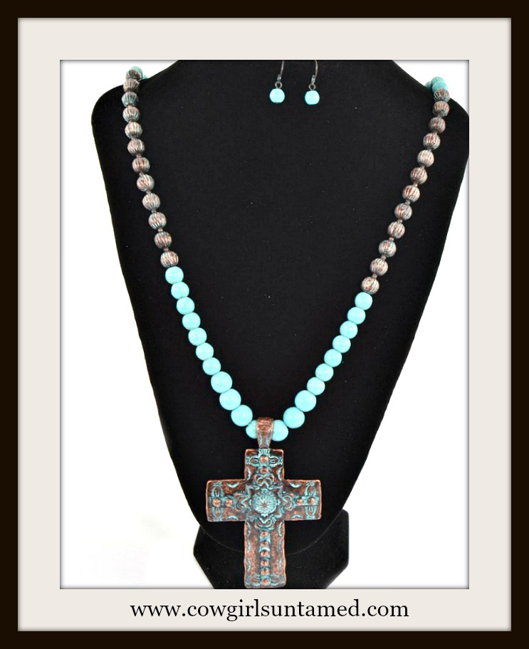 COWGIRL GYPSY NECKLACE Rustic Patina Cross on Long Turquoise Beaded Necklace & FREE EARRINGS