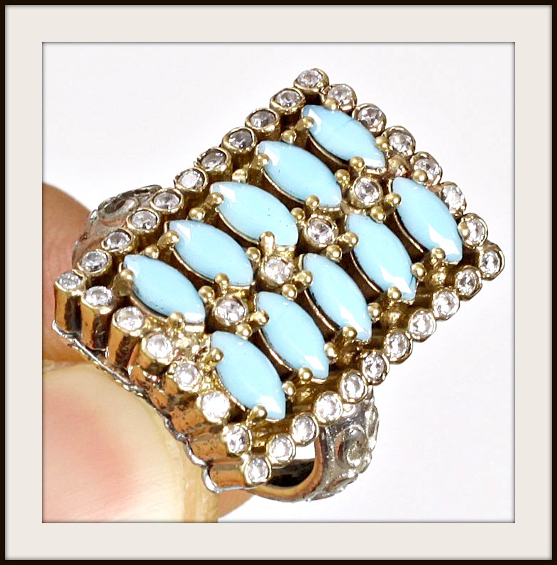 VINTAGE GYPSY RING Rectangle Handmade Topaz Turquoise .925 Silver & Bronze Ring