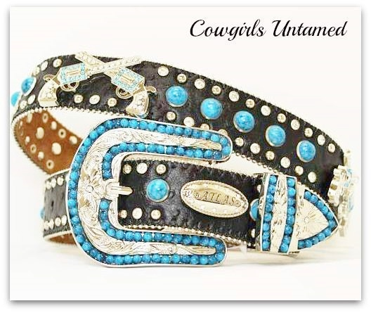 ATLAS BELT Turquoise N Rhinestone Studded Pistol Concho Leather Western Belt