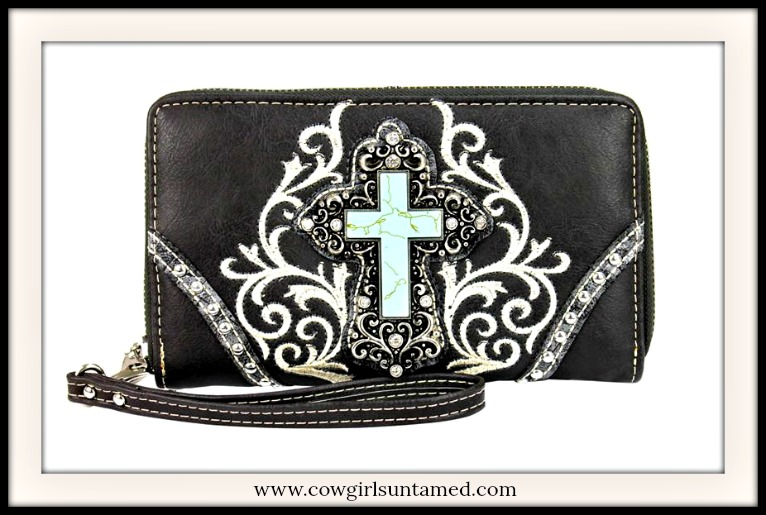 SPIRITUAL COWGIRL WALLET Turquoise Cross on White Floral Embroidery Crystal Silver Studded Wallet