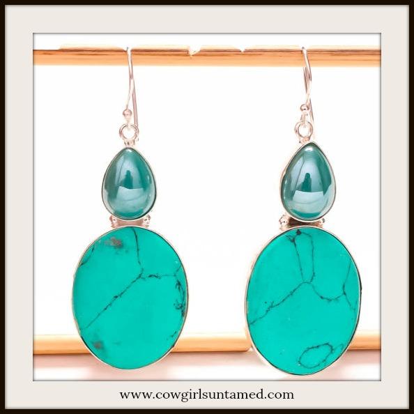 COWGIRL STYLE EARRINGS Santa Rosa Turquoise Gemstone Silver Dangle Earrings
