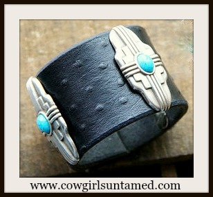 WESTERN COWGIRL CUFF Silver & Turquoise Southwest Conchos on Black Leather Bracelet