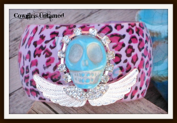 COWGIRL GYPSY CUFF Turquoise Skull Rhinestone Trim and Silver Angel Wings on Pink Leopard Cuff Bracelet