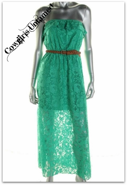 COWGIRL GYPSY DRESS Strapless Flounce Top Designer Green Lace Maxi Dress