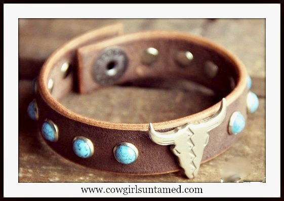 WESTERN COWGIRL BRACELET Turquoise Studded Antique Silver Steer on Brown Leather Cuff