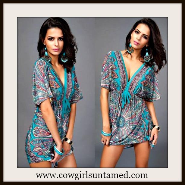 COWGIRL GYPSY DRESS Paisley Floral Deep V Neck Boho Mini Dress