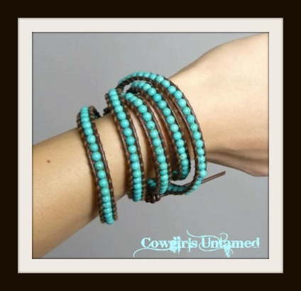 COWGIRL GYPSY BRACELET Turquoise Beaded Brown Leather Western Wrap Bracelet