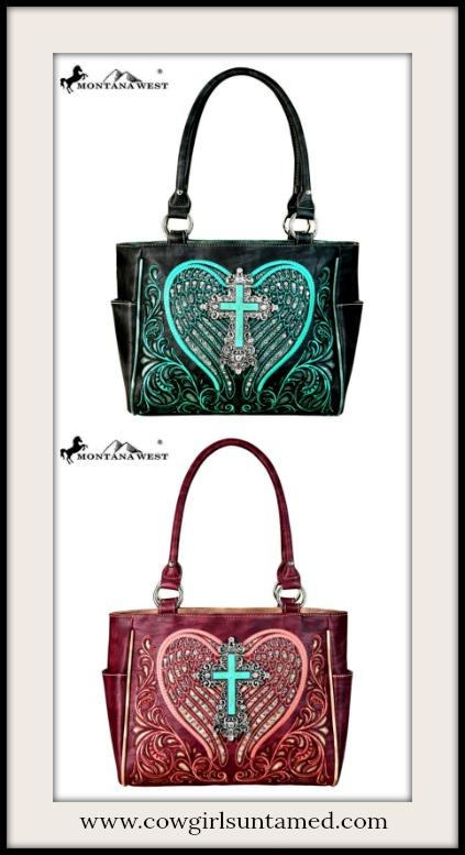 COWGIRL STYLE HANDBAG Silver & Turquoise Cross Embroidered Heart Handbag