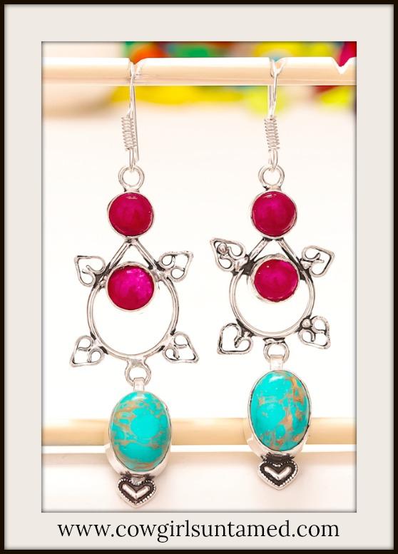 COWGIRL GYPSY EARRINGS Turquoise & Ruby 925 Sterling Silver Heart Long Earrings