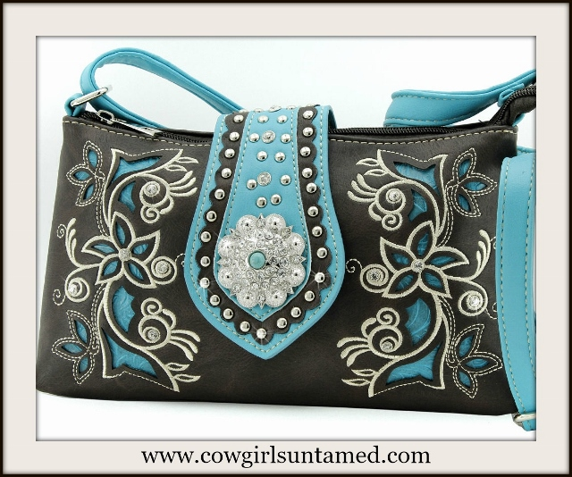 WESTERN COWGIRL HANDBAG Turquoise Concho Turquoise & Brown Concealed Weapon Handbag