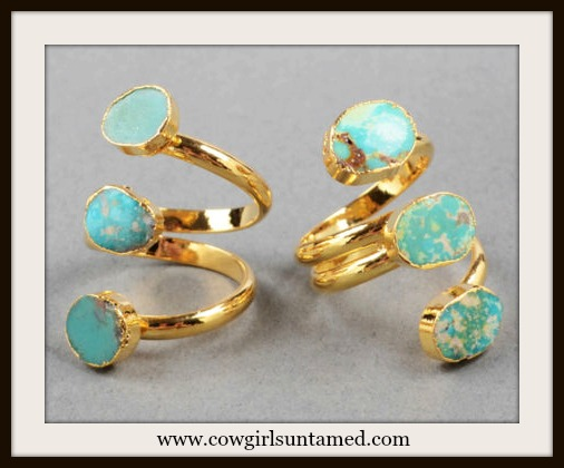 COWGIRL GYPSY RING Genuine Triple Turquoise N Gold Plated Boho Ring
