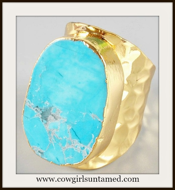 WESTERN COWGIRL RING Genuine Turquoise Gold Plated Ring