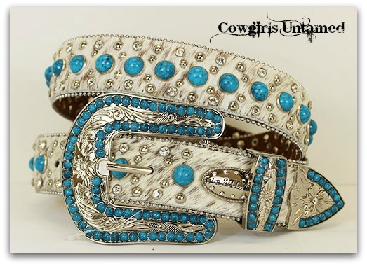 COWGIRL BELT Aqua Turquoise N Rhinestone Studded with Silver Clear N Turquoise Crystal Buckle on White Brindle Hair on Hide Leather Western Belt