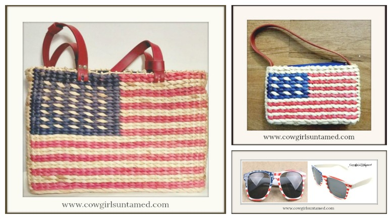 AMERICAN PRIDE HANDBAG SET Red & Blue USA Flag Large and Small Straw Handbag Sunglasses SET