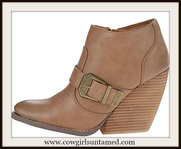 BOHEMIAN COWGIRL BOOTS  Chunky Heel Buckle Accent Tan Faux Leather Ankle Boots