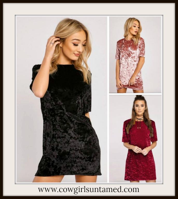 COWGIRL GYPSY DRESS Short Sleeve Crushed Velvet Mini Dress / Tunic Top