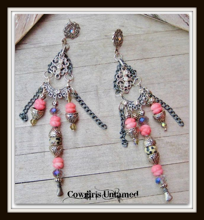 COWGIRL GYPSY EARRINGS Rhinestone Coral Black N Beige Dalmatian Jasper Gemstone Antique Silver Earrings