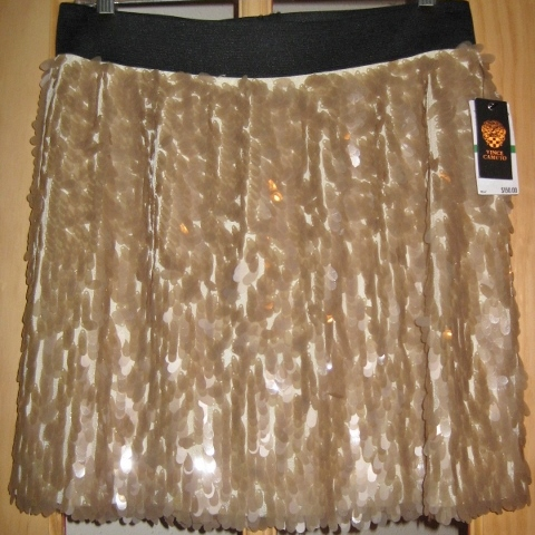 COWGIRL GLAM SKIRT Beige Pailette Covered Vince Camuto Designer Mini Skirt
