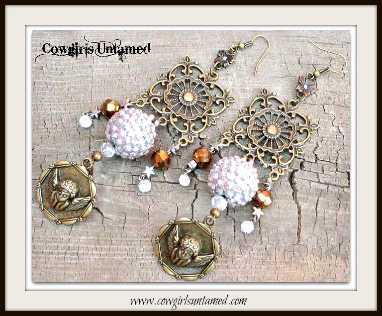 COWGIRL GYPSY EARRINGS Antique Bronze Filigree Brown Crystals Rhinestone Angel Charm Long Earrings