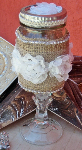 FARMHOUSE COUNTRY CHIC DECOR White Lace Ruffle Rosette & Rhinestone Trim Burlap Vintage Style Wine Glass Vase Candle Holder