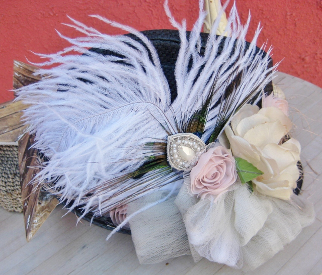 COWGIRL GLAM HAT White Ostrich Peacock Feathers Antique Pink & Cream Flower Tulle Bow  with Bead Hatband on Black Straw Fedora Hat