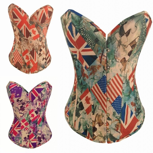 CORSET - Vintage Style Multi Country Flags Lace Up Back Western Corset Top