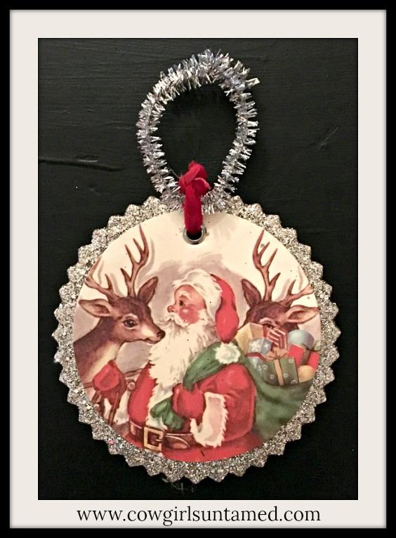 COWGIRL CHRISTMAS DECOR Victorian Santa & Deer Silver Vintage Style Ornament