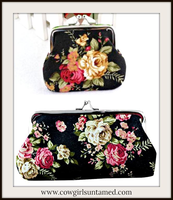 VINTAGE BOHEMIAN BAG Floral Black Bags