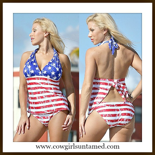 AMERICAN PRIDE SWIMSUIT Red White & Blue Stars N' Stripes Halter Tankini