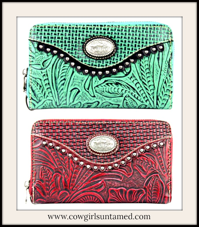 COWGIRL GLAM WALLET Floral Tooled Leather Silver Studded Wallet