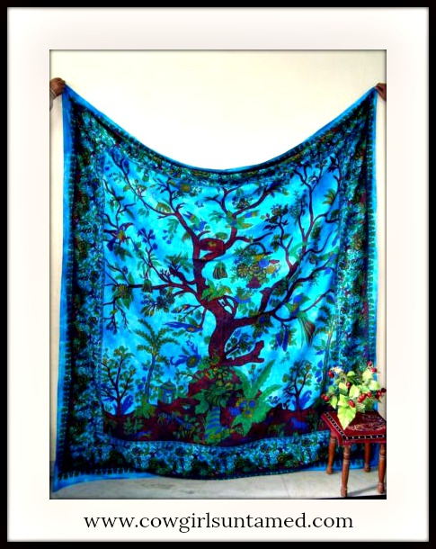 Tree of Life Paisley Turquoise Cotton Wall Hanging bohemian