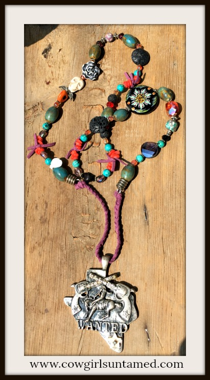 RODEO REBEL NECKLACE BIG AS TEXAS Antique Silver