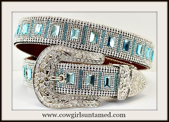 COWGIRL GLAM BELT Blue Rhinestone Silver Crystal Buckle Belt