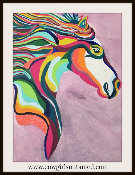 BOHEMIAN COWGIRL PAINTING Multi Color Hand Painted Horse Boho Wall Art