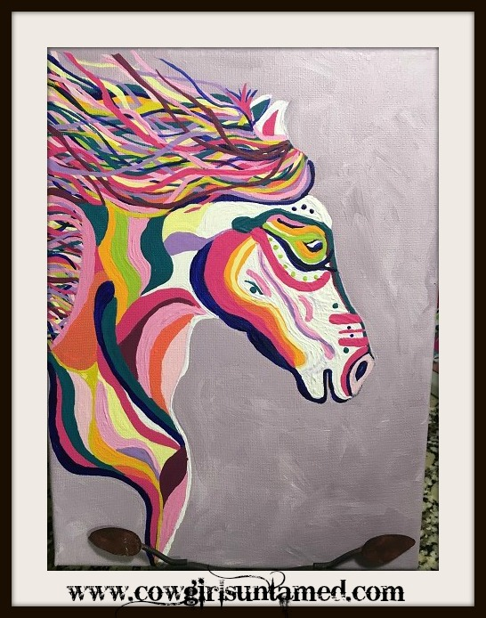 BOHEMIAN COWGIRL PAINTING Multi Color Hand Painted Horse Boho Wall Art3of3