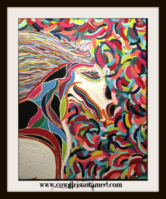BOHEMIAN COWGIRL PAINTING Multi Color Hand Painted Horse Boho Wall Art3