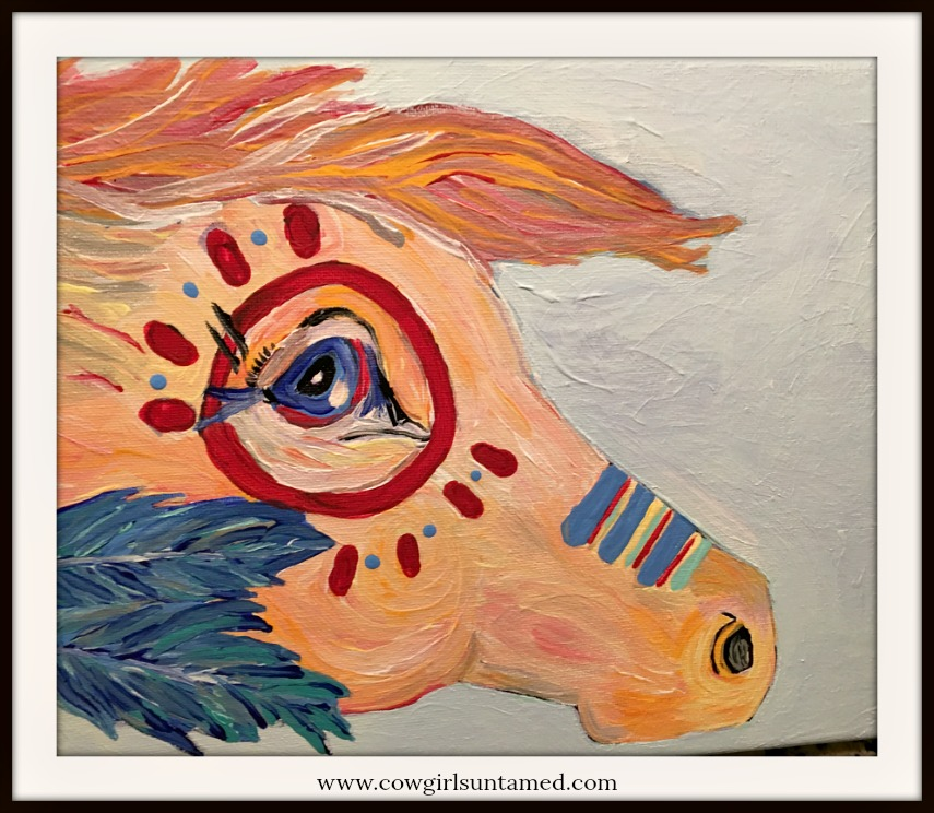 "BOHEMIAN COWGIRL PAINTING ""Warrior Pony"" Hand Painted Horse Boho Wall Art"