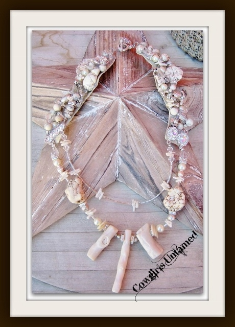 COWGIRL GYPSY NECKLACE White Shell Pearl Coral Rhinestone Multi Strand Necklace