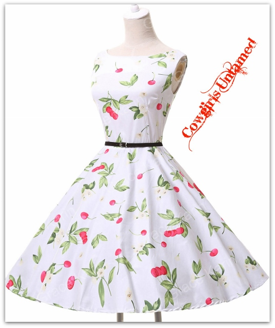 COWGIRL PINUP DRESS Sleeveless Pink Red Cherry Full Skirt White Dress