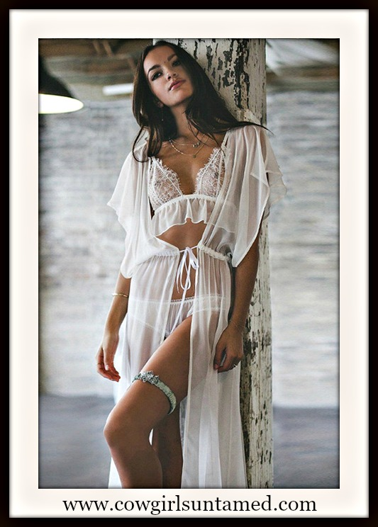 COWGIRL GYPSY COVER UP White Flowy Long Short Sleeve Chiffon Long Cover Up Robe Jacket