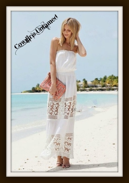 WILD FLOWER DRESS White Chiffon and Lace Strapless Maxi Dress