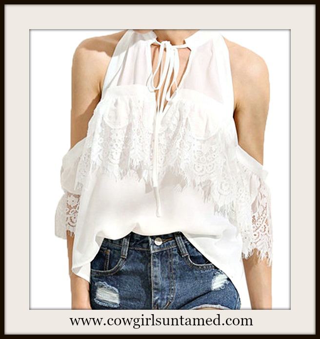 COWGIRL GYPSY TOP White Lace Cold Shoulder Tie V-Neckline Blouse