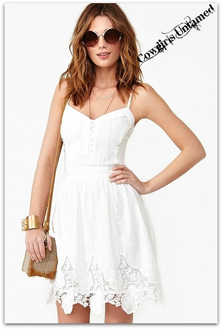 COWGIRL GYPSY DRESS Button Accented Front White Cotton and Lace Spaghetti Strap Boho Dress