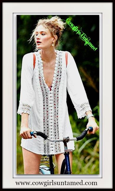 COWGIRL GYPSY TOP White Crochet Lace Trim Cuff and Neckline Stripe on Chiffon Tunic Top