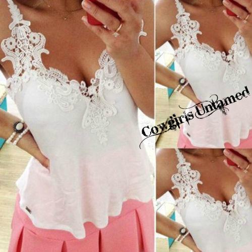 COWGIRL GYPSY TANK TOP White Crochet Lace Spaghetti Strap Flowy Cropped Tank Top