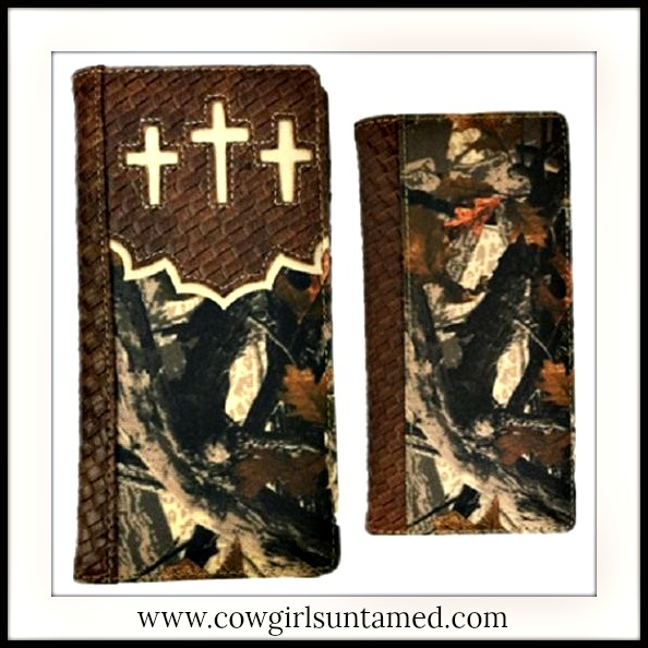 COWBOY WALLET BROWN Men's White Cross on Camo Leather Bifold Long Western Wallet