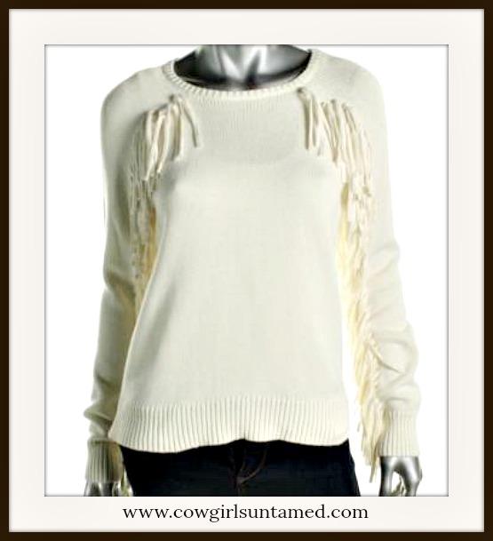 COWGIRL STYLE SWEATER Ivory Fringe Designer Sweater